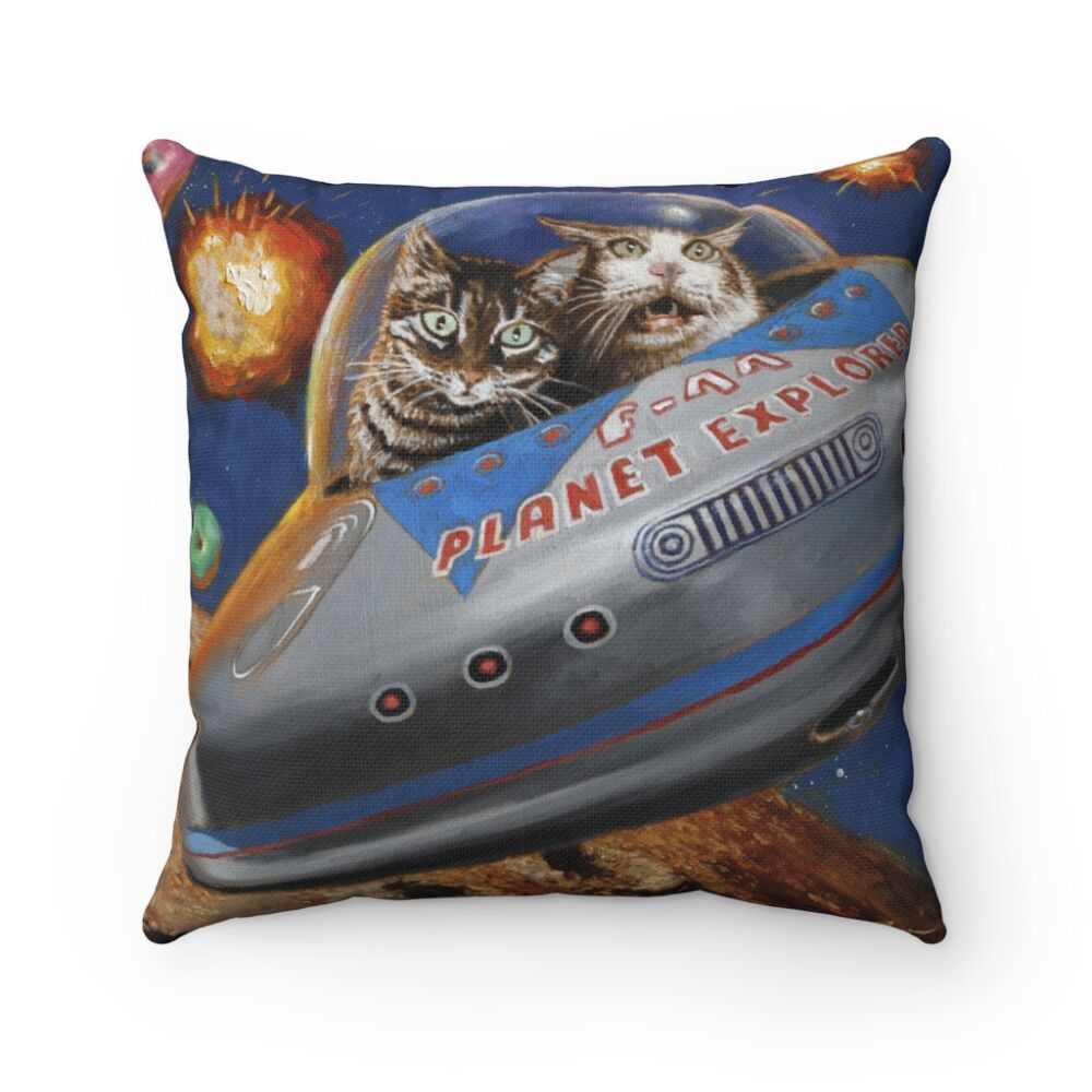 Space Cats Spun Polyester Square Pillow Eric Joyner Robots And Donuts Artist