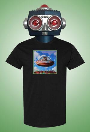 Spaceship Cat Black Eric Joyner Art T-Shirt